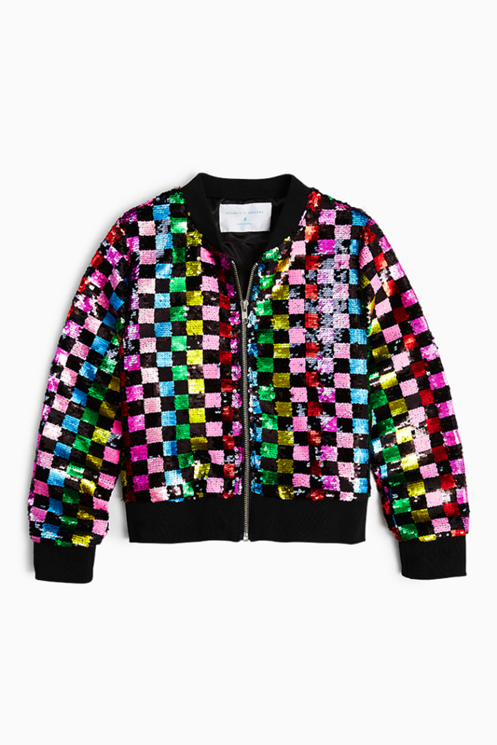 Rainbow Checker Sequin Bomber front