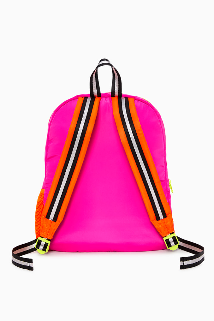Neon Pink Backpack back