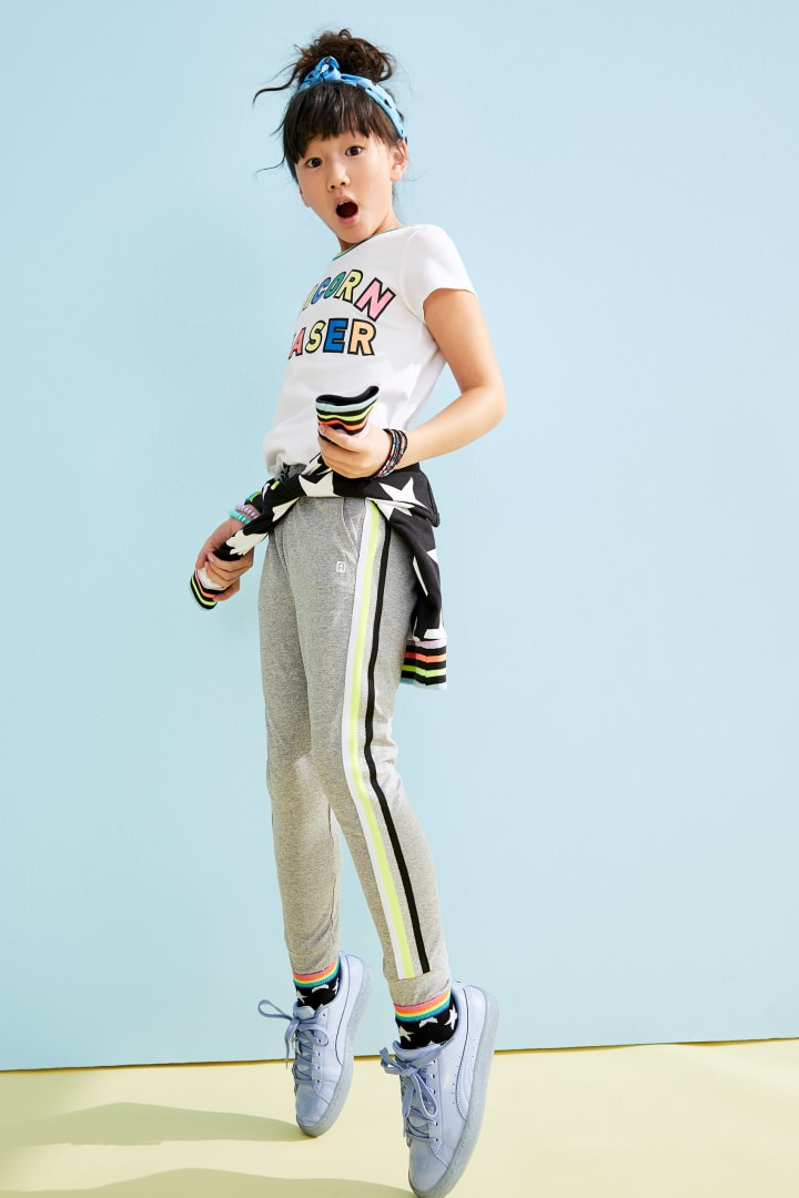 Rainbow Side Stripe Active Jogger on model