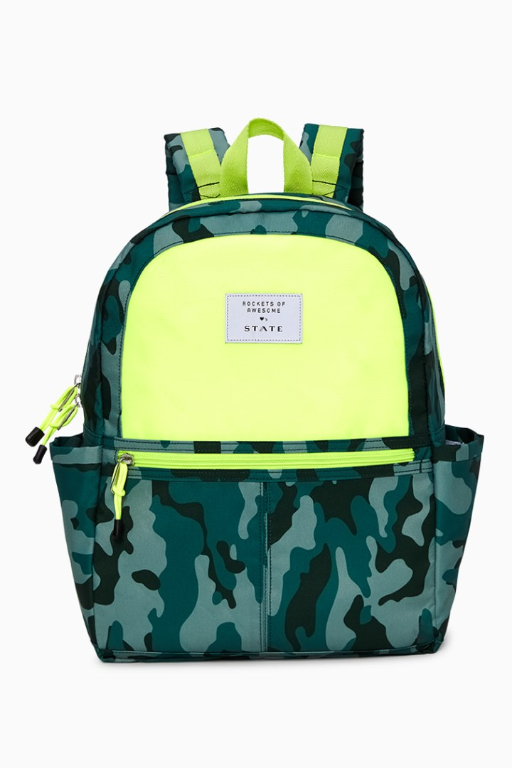 Rockets Of Awesome X State Backpack In Camo Neon front