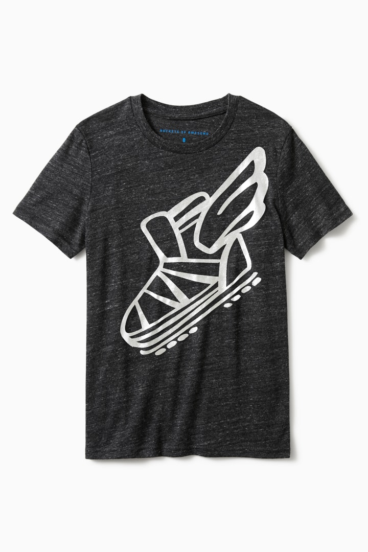 Flying Sneaker Foil Tee front