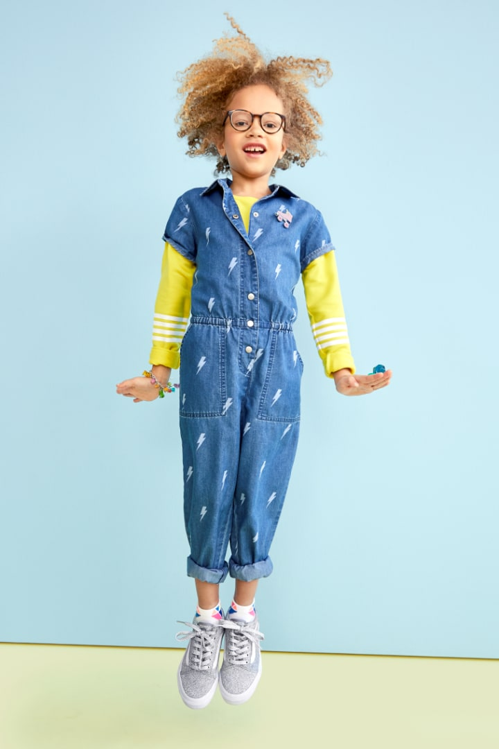 Chambray Lightning Jumpsuit on model