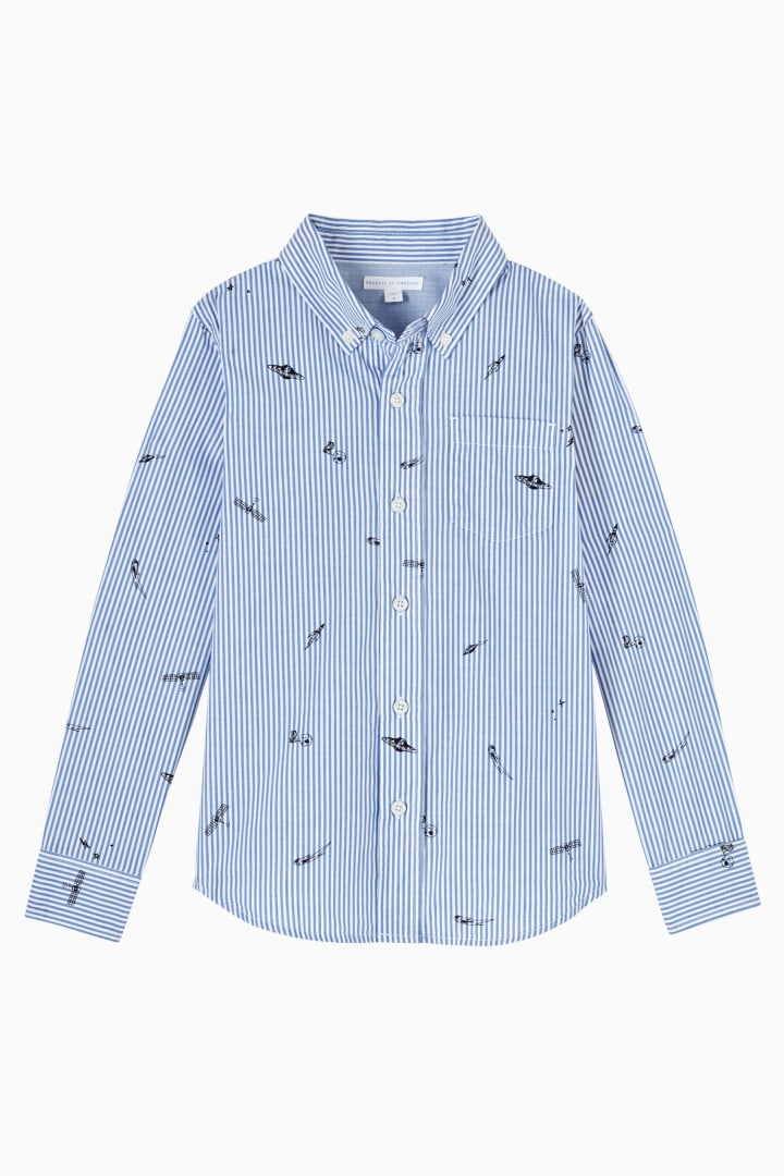 Space Stripe Button Down front