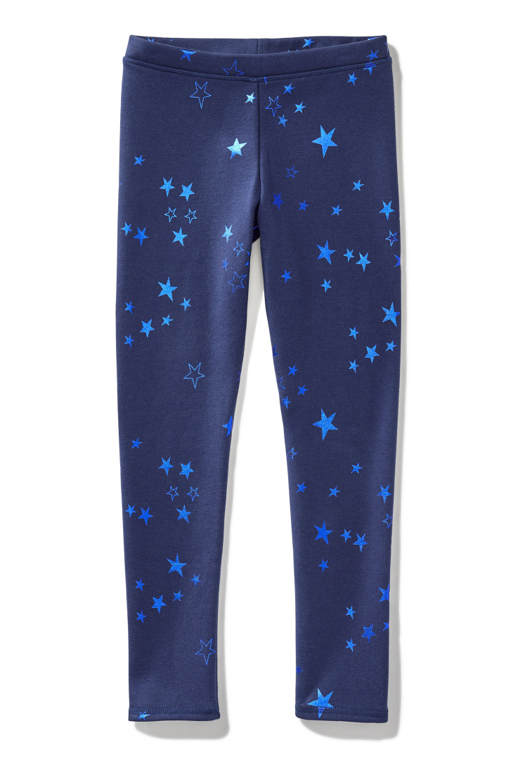 Fleece-Lined Foil Star Legging front