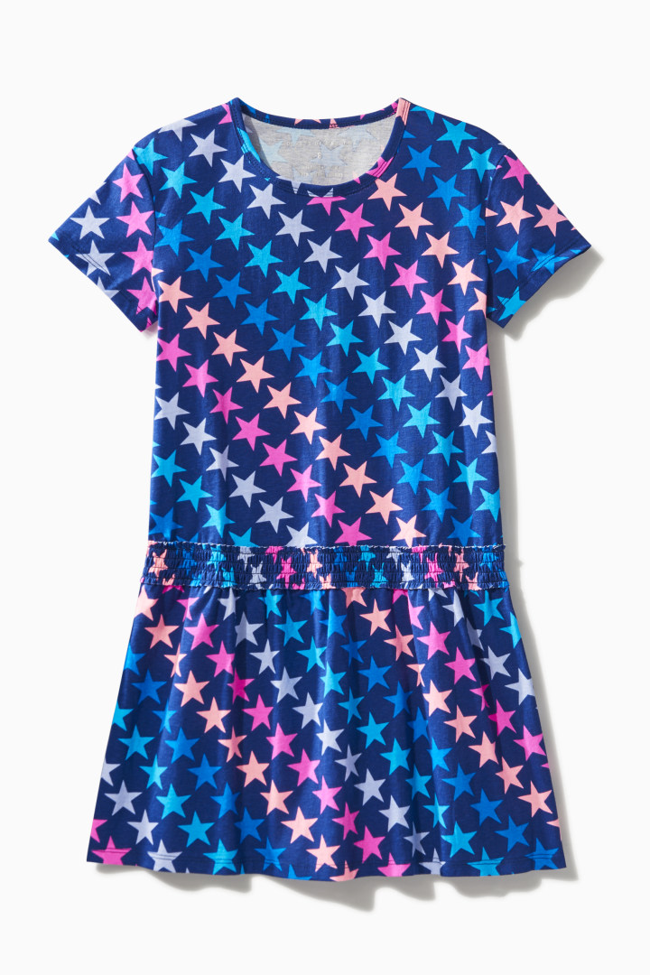 Rainbow Star Print Dress front