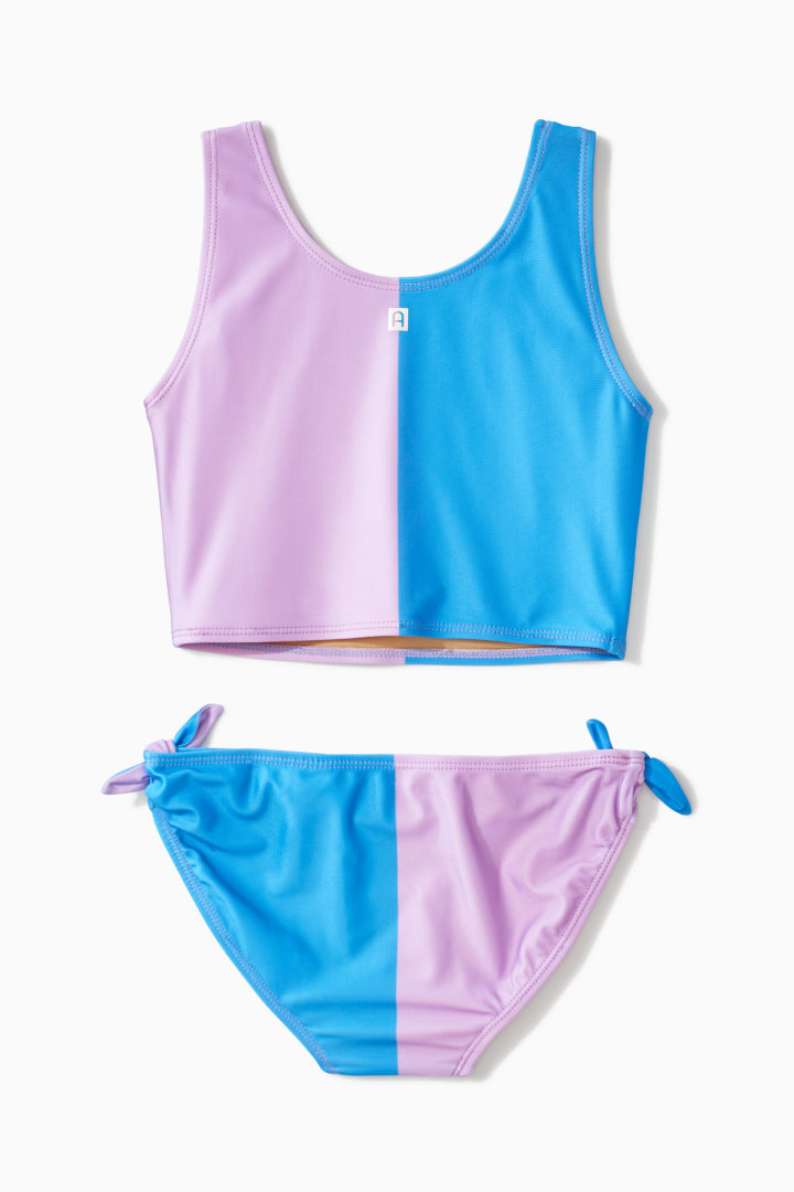 Color Block Side Tie Tankini back