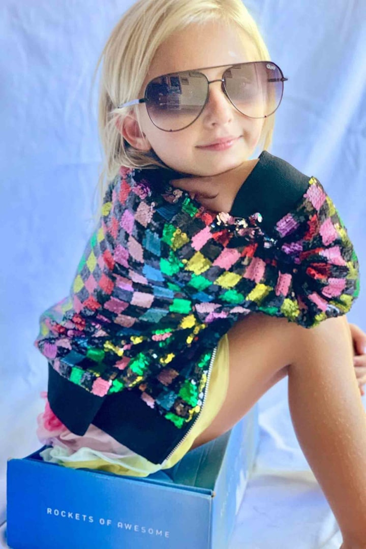 Rainbow Checker Sequin Bomber detail