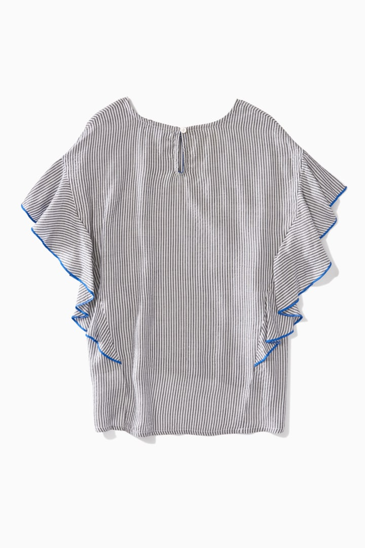 Sparkly Stripe Ruffle Sleeve Top back