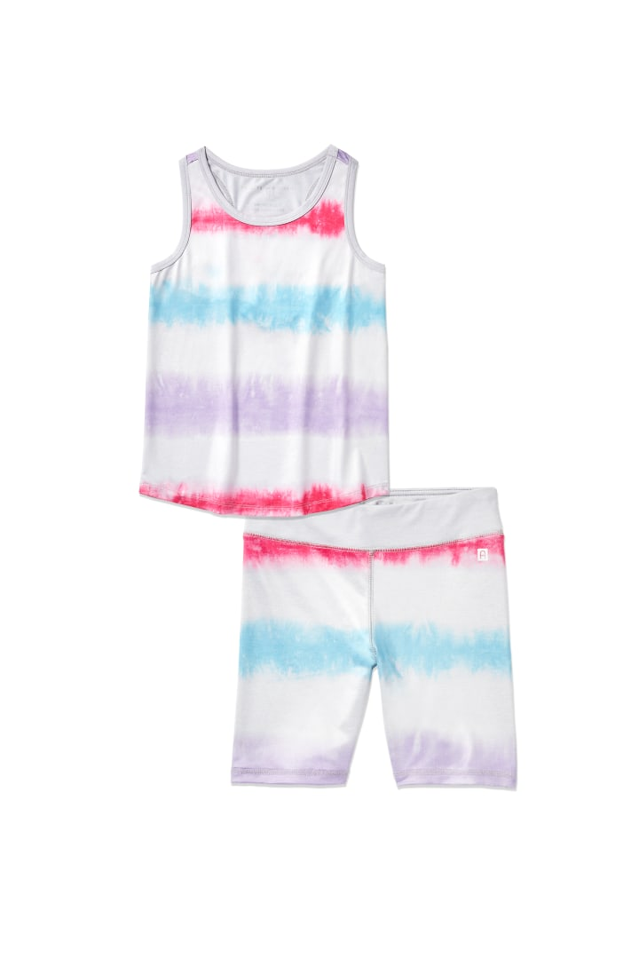 Multi Tie-Dye Active Biker Short on model