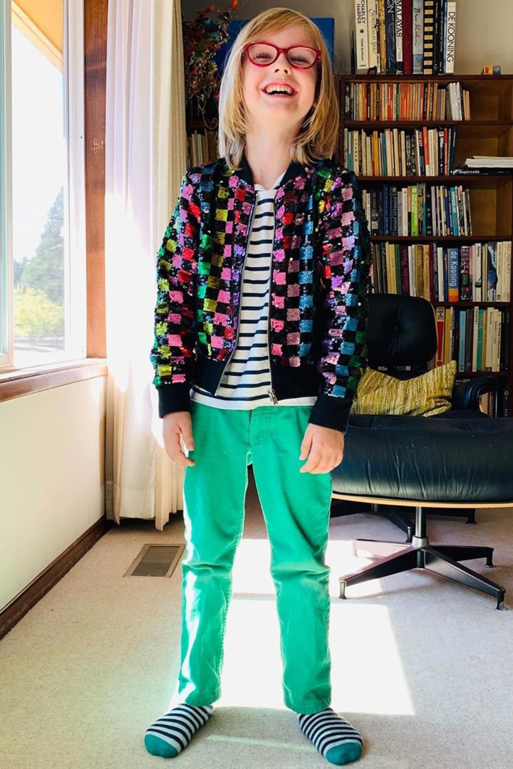 Rainbow Checker Sequin Bomber on model