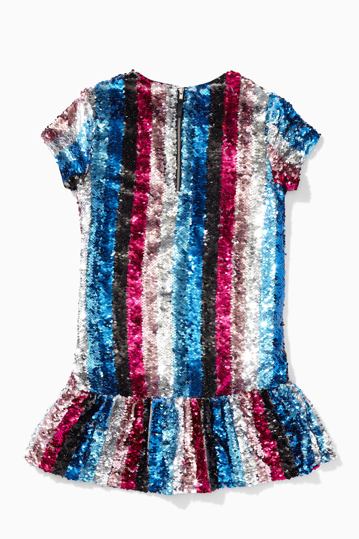 DVF X Rockets Of Awesome Rainbow Stripe Sequin Dress back