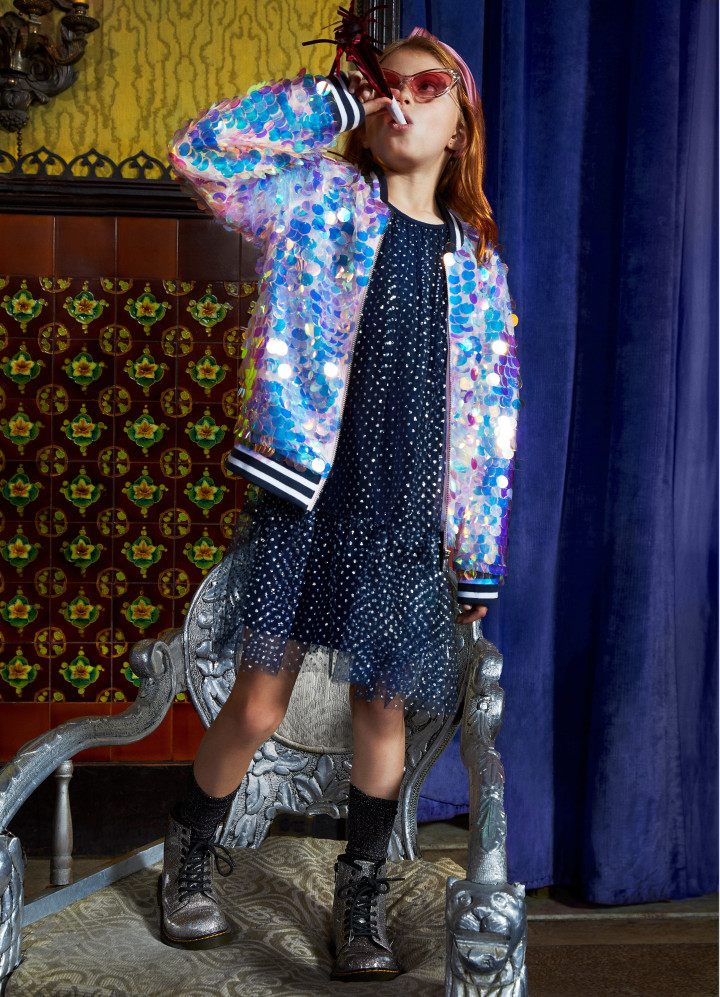 Magical Paillette Sequin Bomber on model