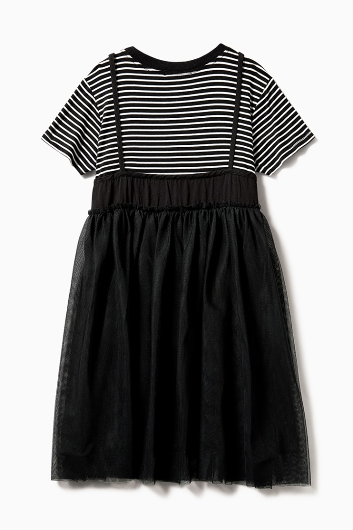 Striped Varsity Tulle Dress back