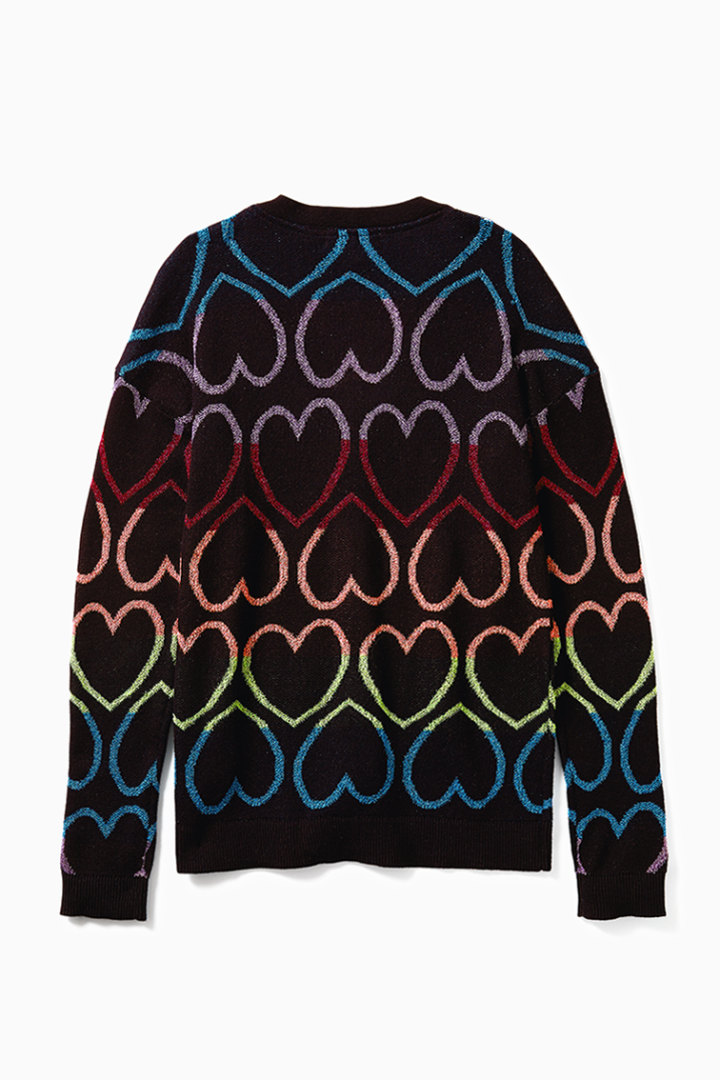 Glitter Rainbow Heart Cardigan back