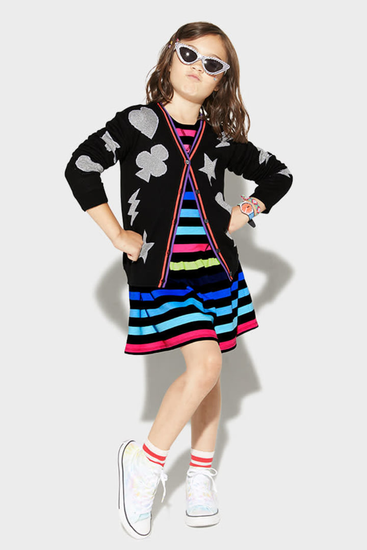 Rainbow Stripe Sweatshirt Dress on model