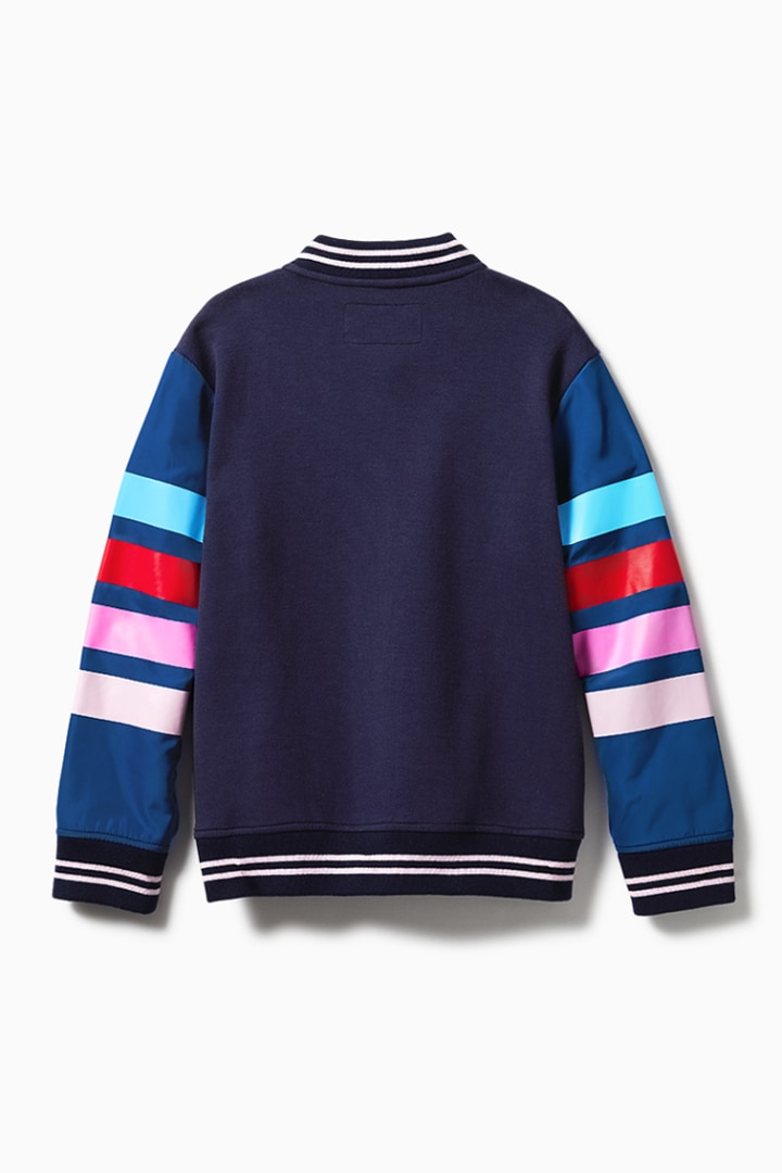 Stripe Sleeve Letterman Jacket back