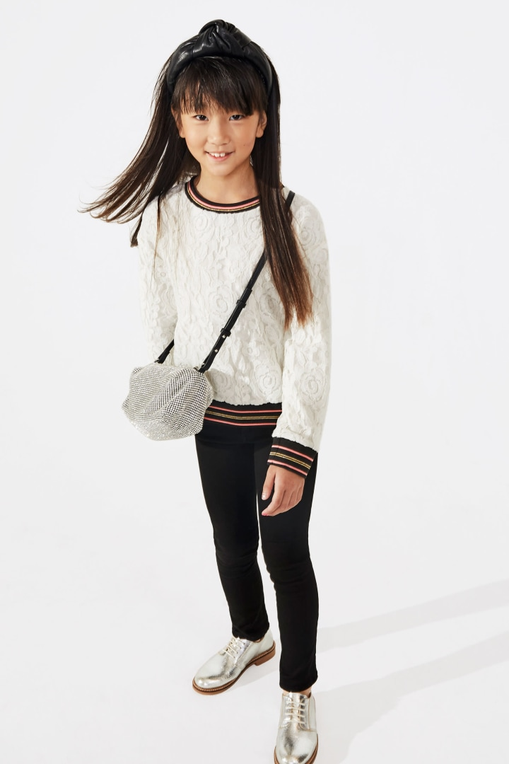 Varsity Lace Top on model