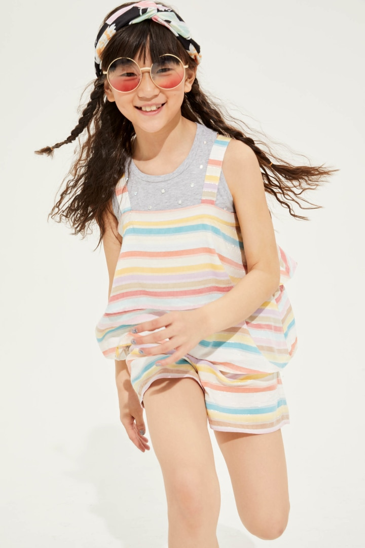 Rainbow Flounce Tank on model