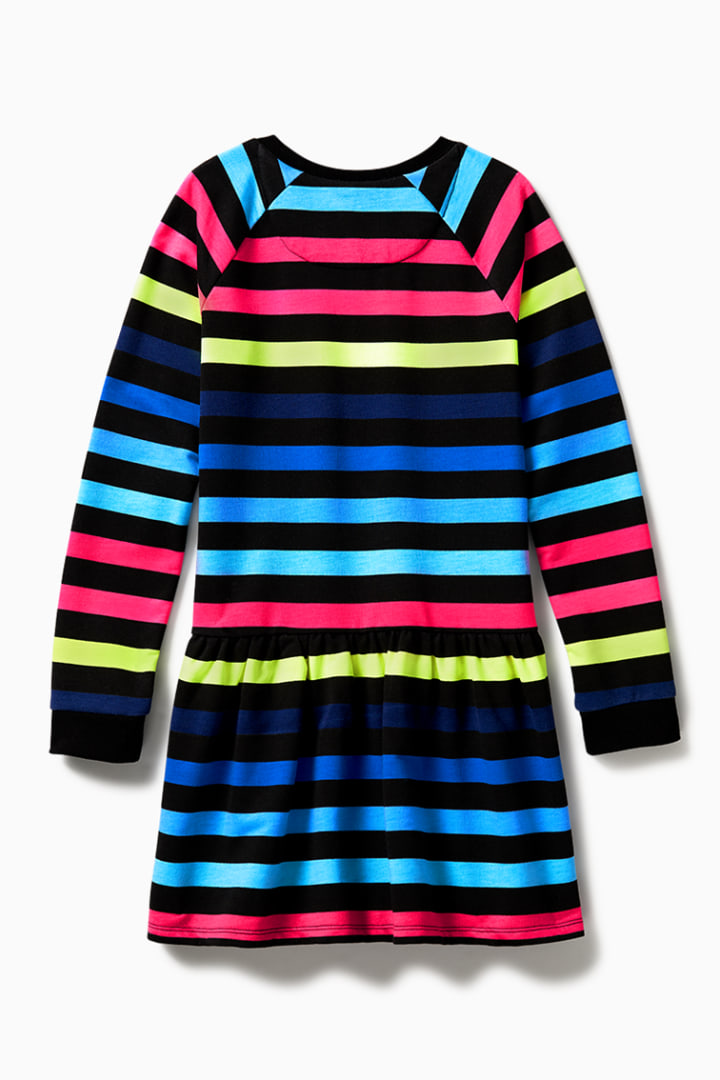 Rainbow Stripe Sweatshirt Dress back