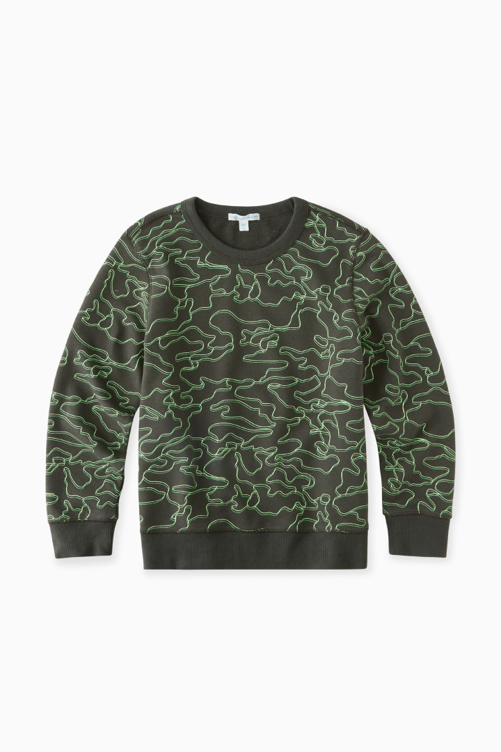 Linear Lime Camo Sweatshirt front