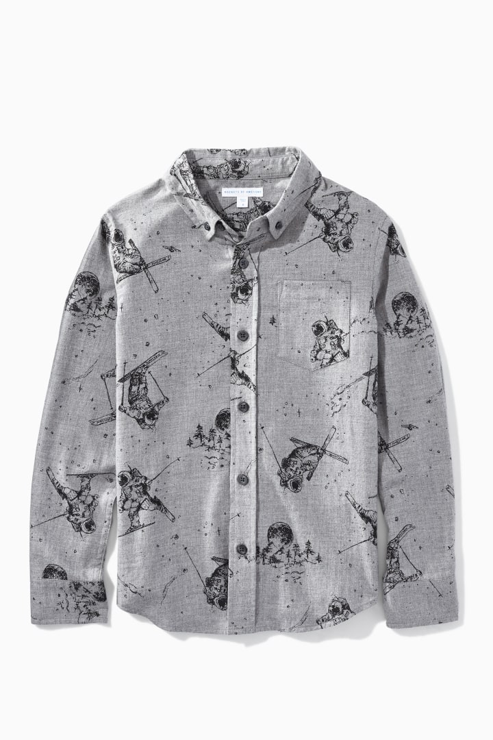 Space Skier Print Flannel front