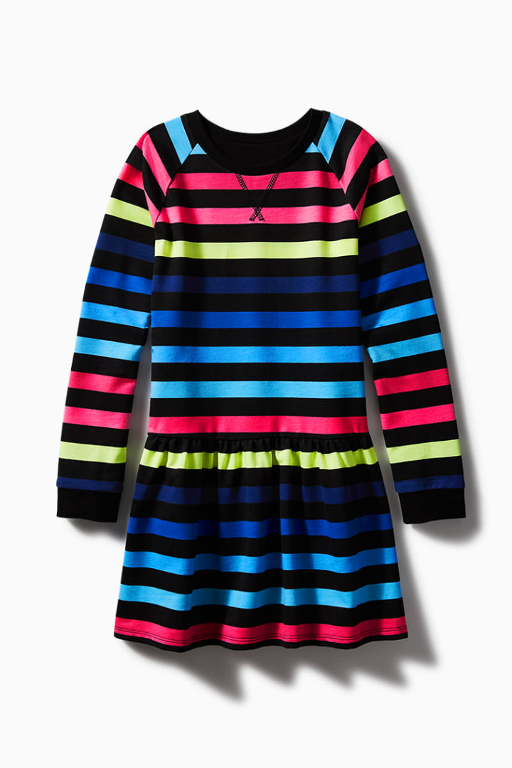 Rainbow Stripe Sweatshirt Dress front