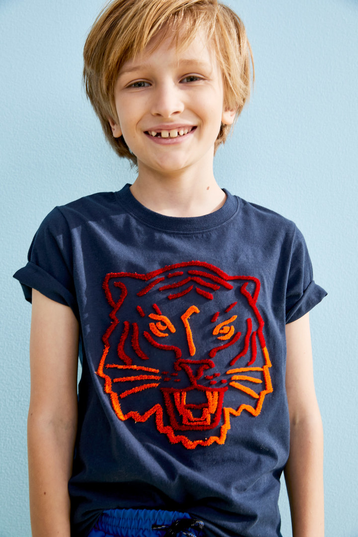 Fuzzy Tiger Tee on model