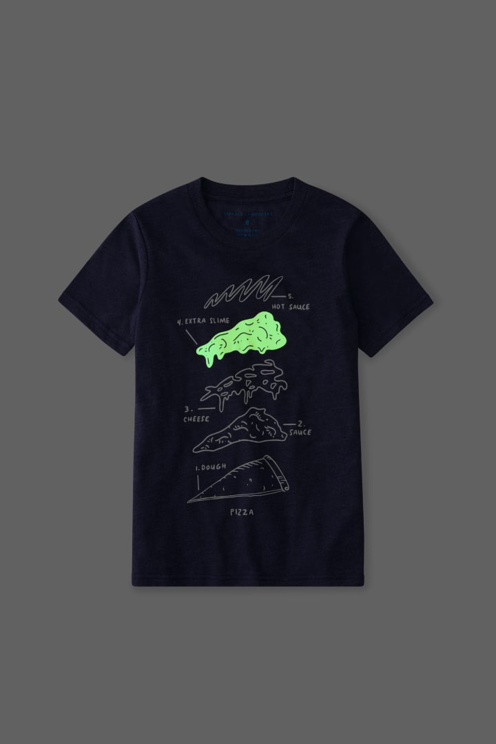 Glow-In-The-Dark Pizza Tee detail