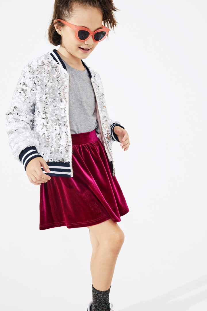 Sequin Bomber on model