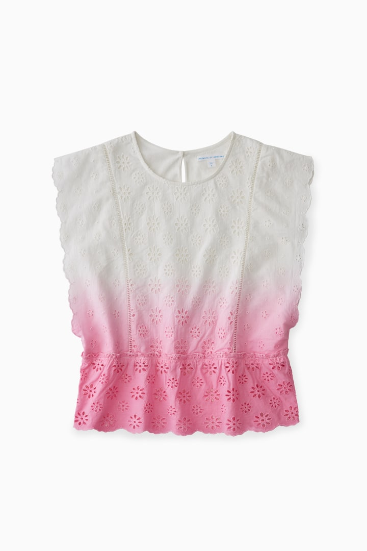 Ombre Eyelet Blouse front
