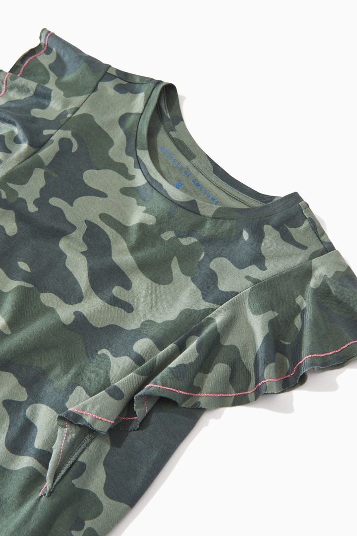 Camo Ruffle Top detail