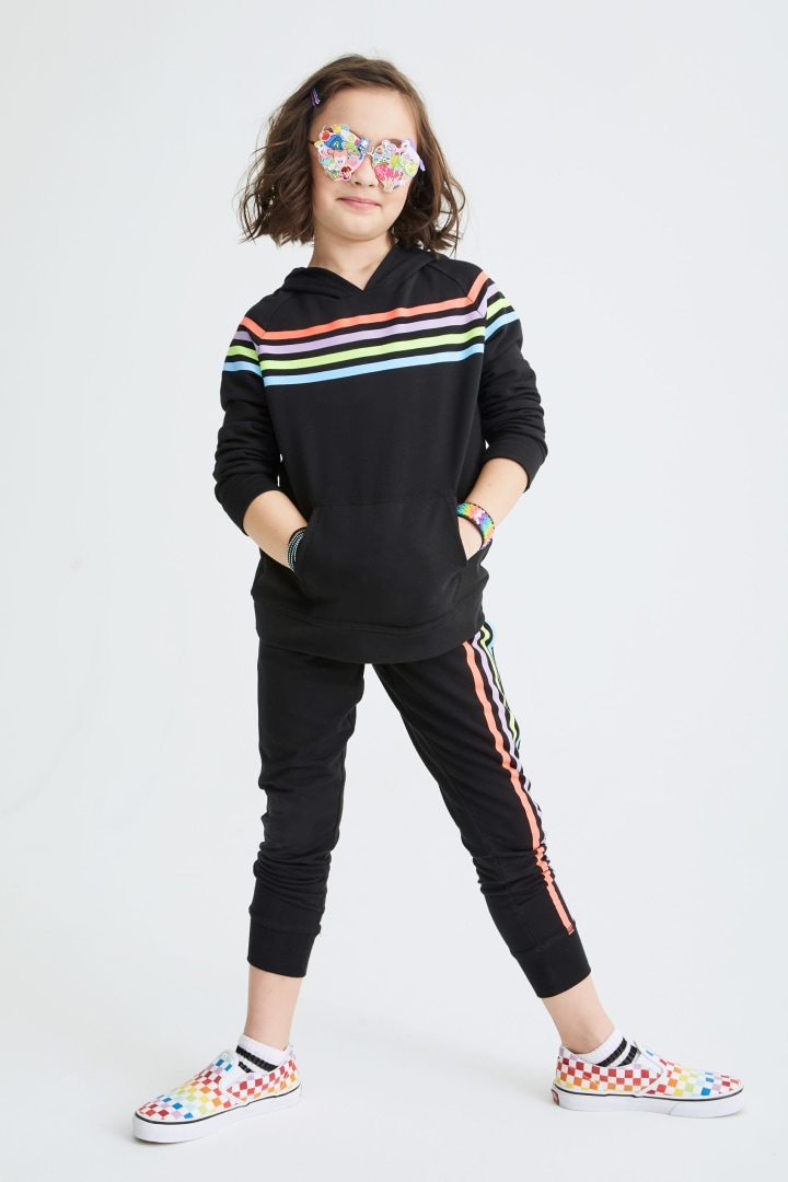 Rainbow Stripe Jogger on model