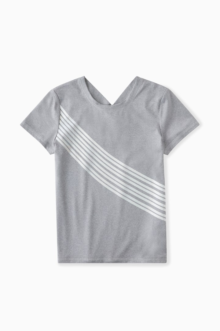 Iridescent Stripe X-Back Active Tee  front