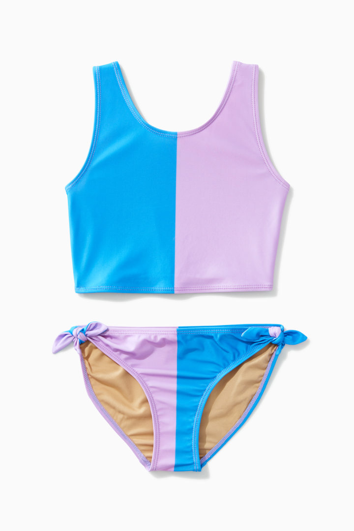 Color Block Side Tie Tankini front