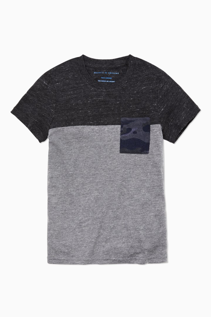 Colorblock Camo Pocket Tee  front