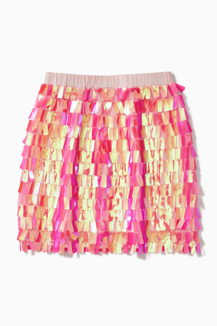 Pink Paillette Sequin Skirt back