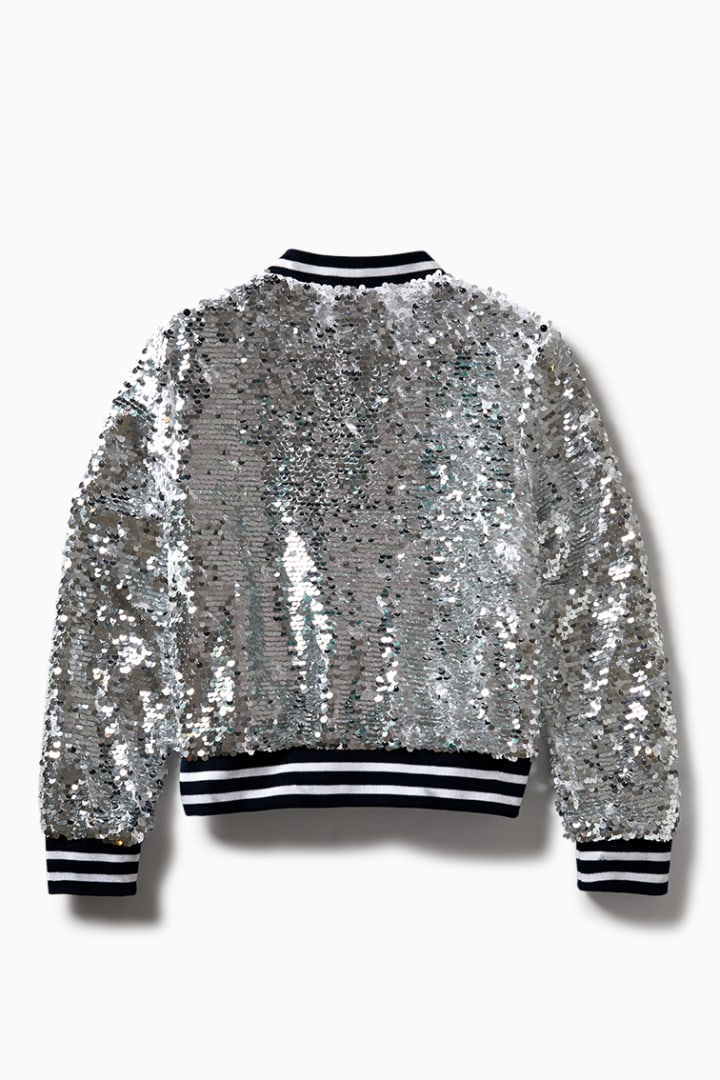 Sequin Bomber back