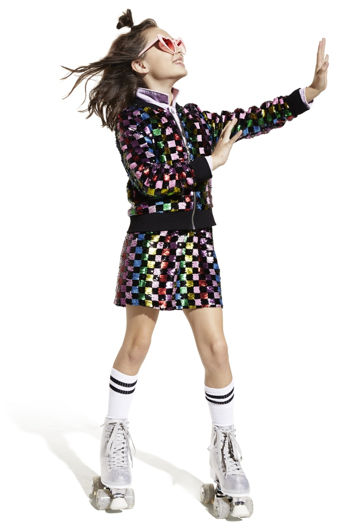 Rainbow Checker Sequin Skirt other