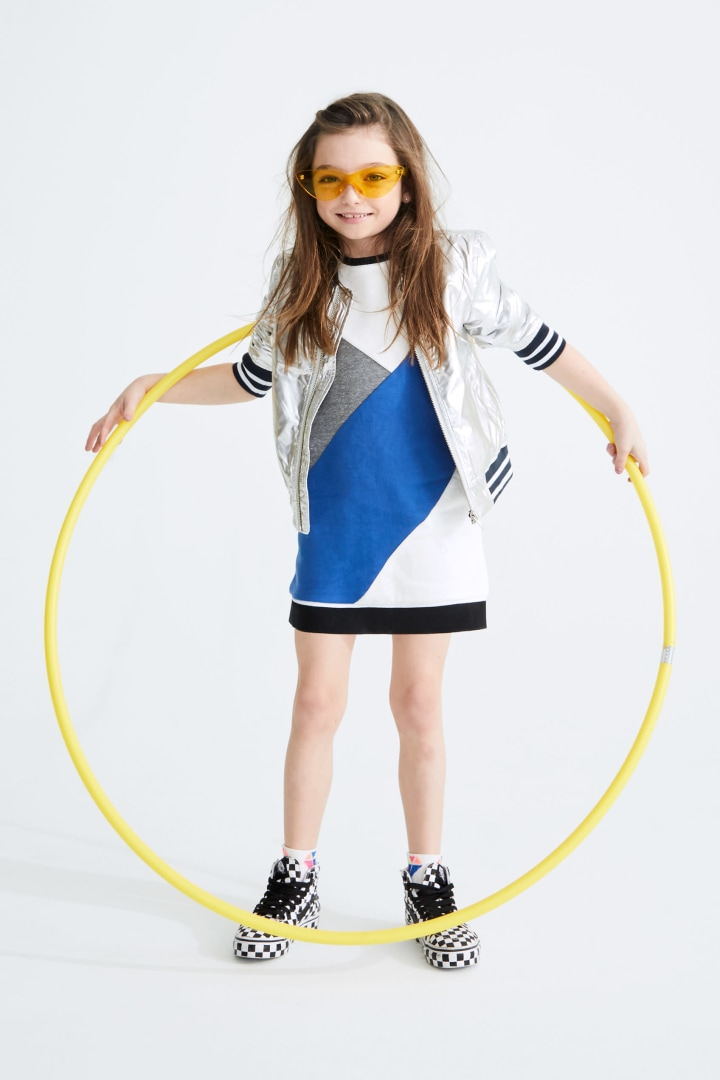 Colorblocked Varsity Dress on model