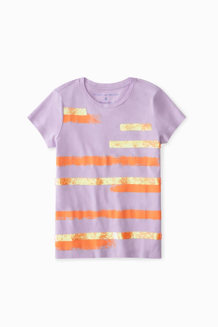 Brushed Sunset Sequin Tee front