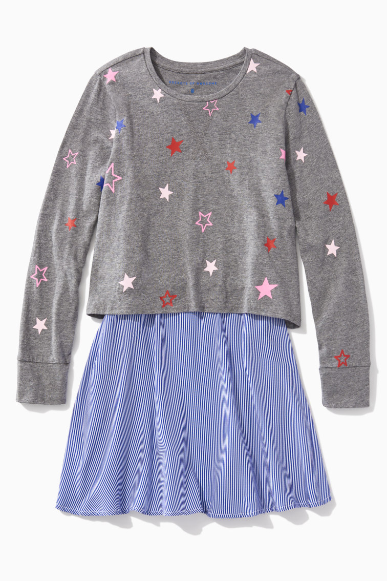 Rainbow Star And Stripe Dress front