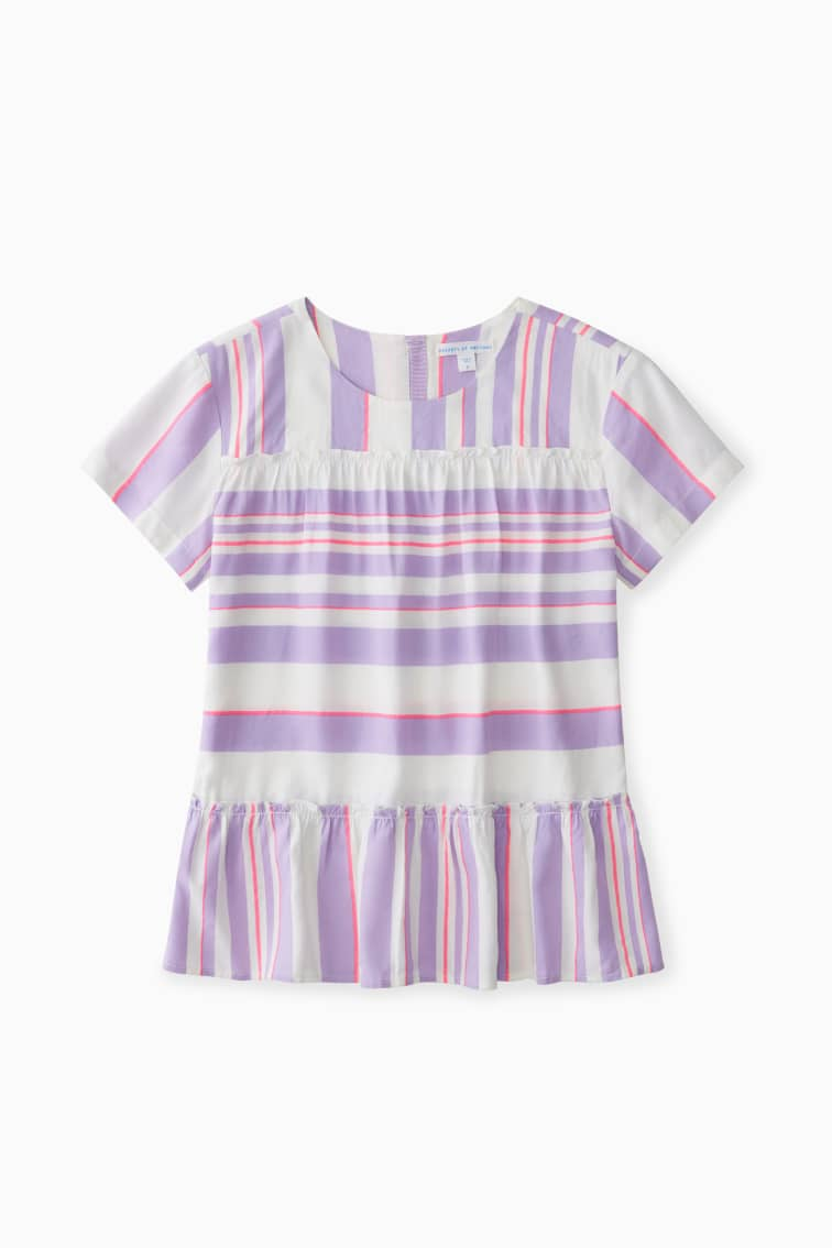 Mixed Stripe Tiered Blouse front