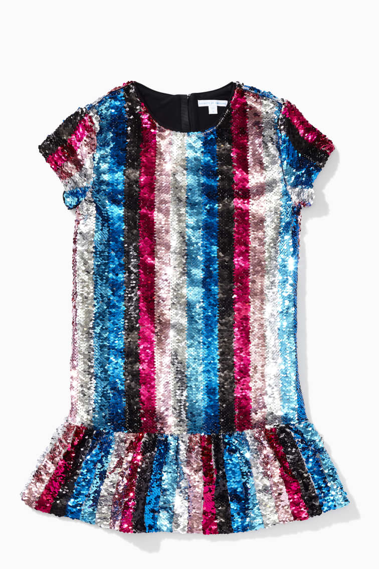 DVF X Rockets Of Awesome Rainbow Stripe Sequin Dress front