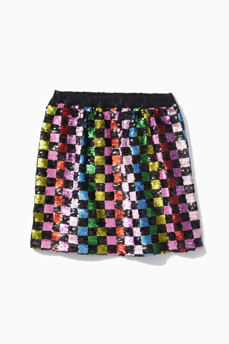 Rainbow Checker Sequin Skirt front