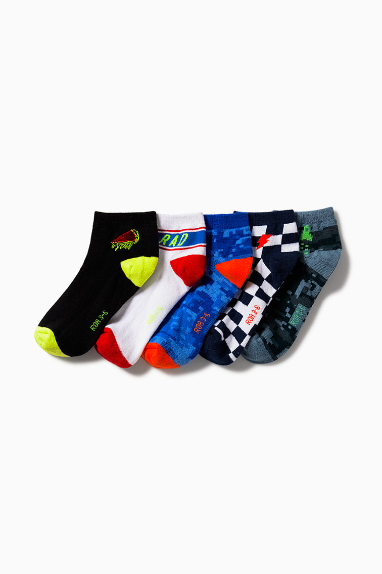 5-Pack Patterned Short Socks front