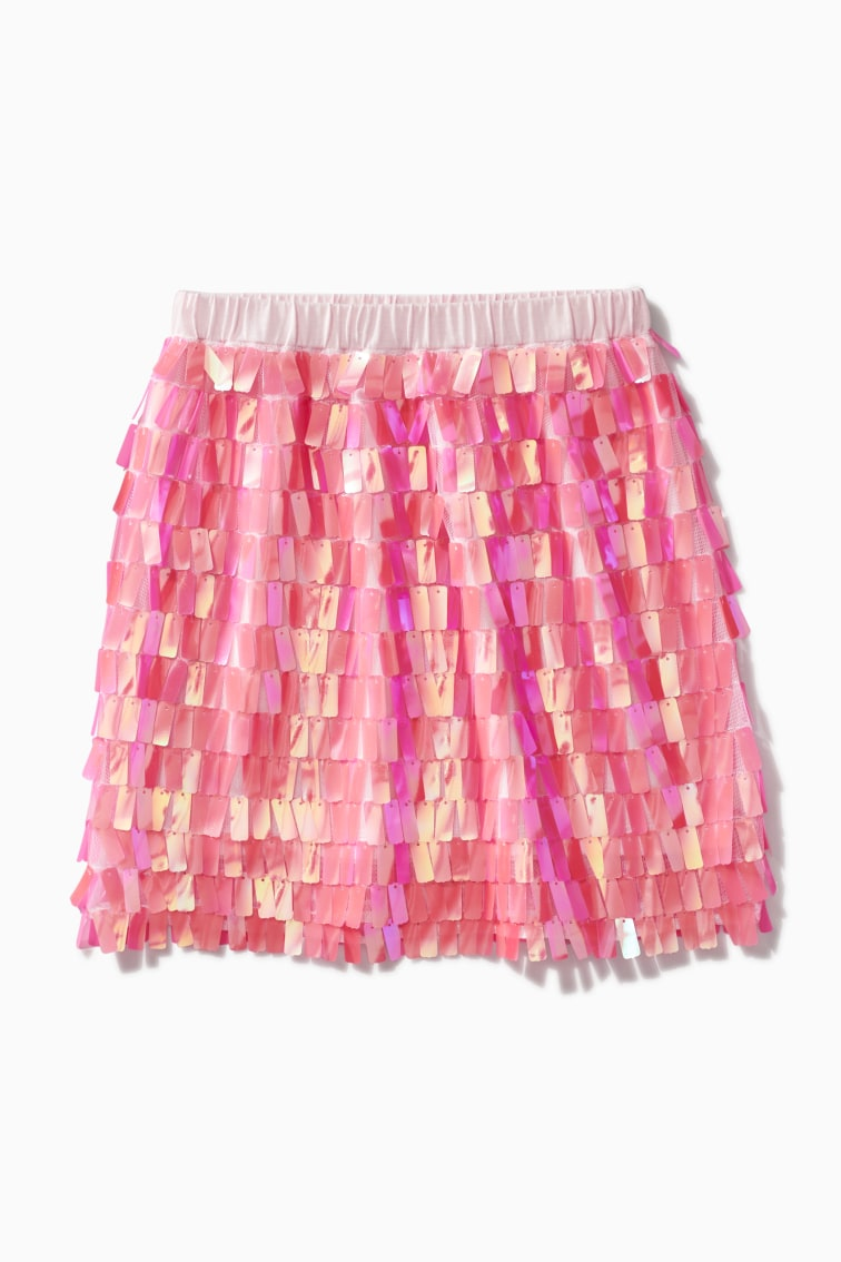 Pink Paillette Sequin Skirt front