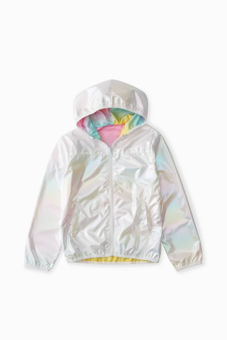 Reversible Rainbow Windbreaker front