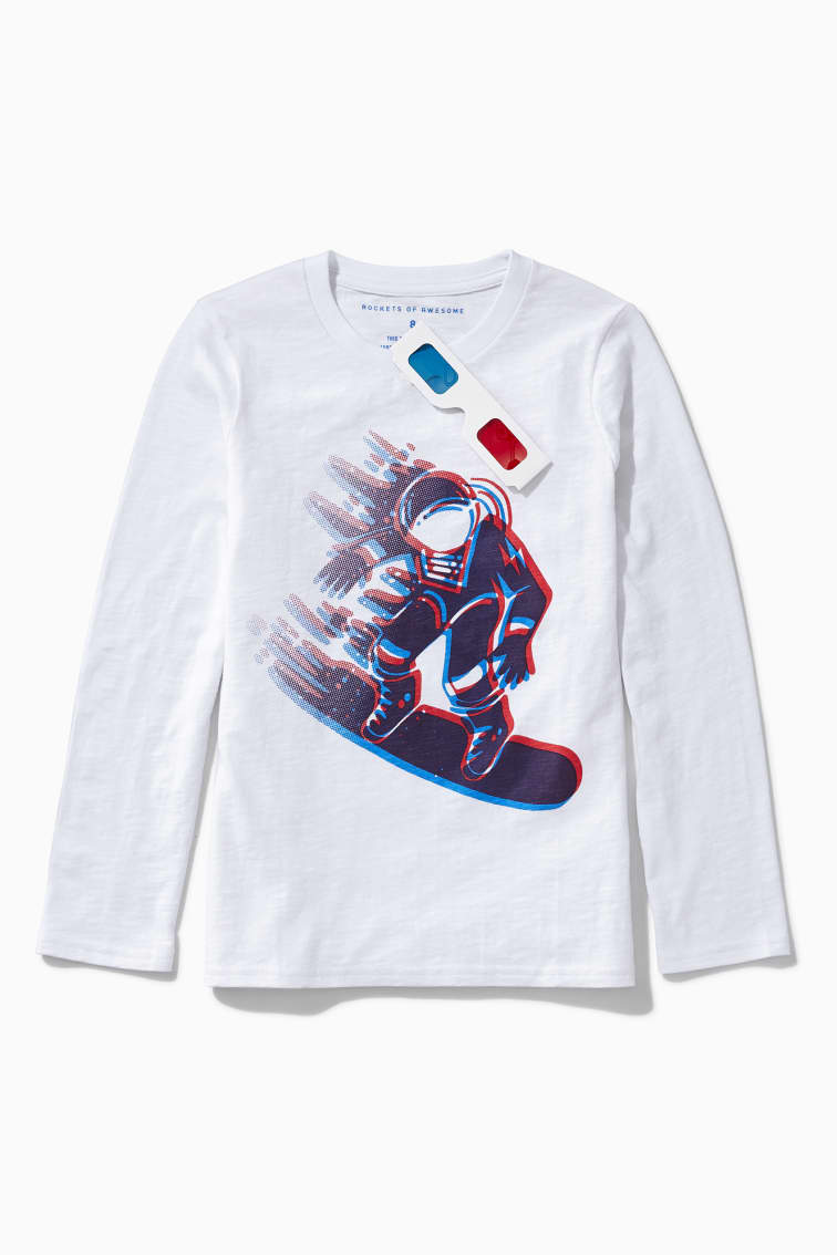 3D Snow Boarder Tee front