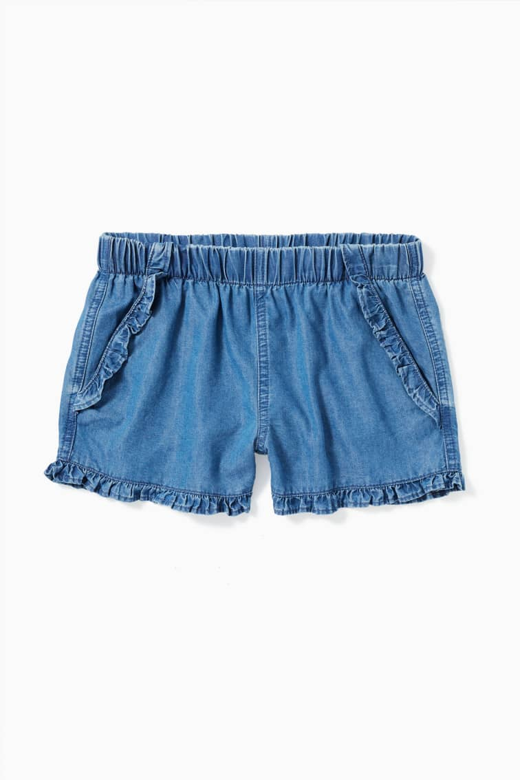 Chambray Ruffle Short front