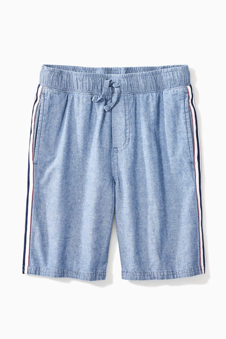 Chambray Stripe Trim Short front